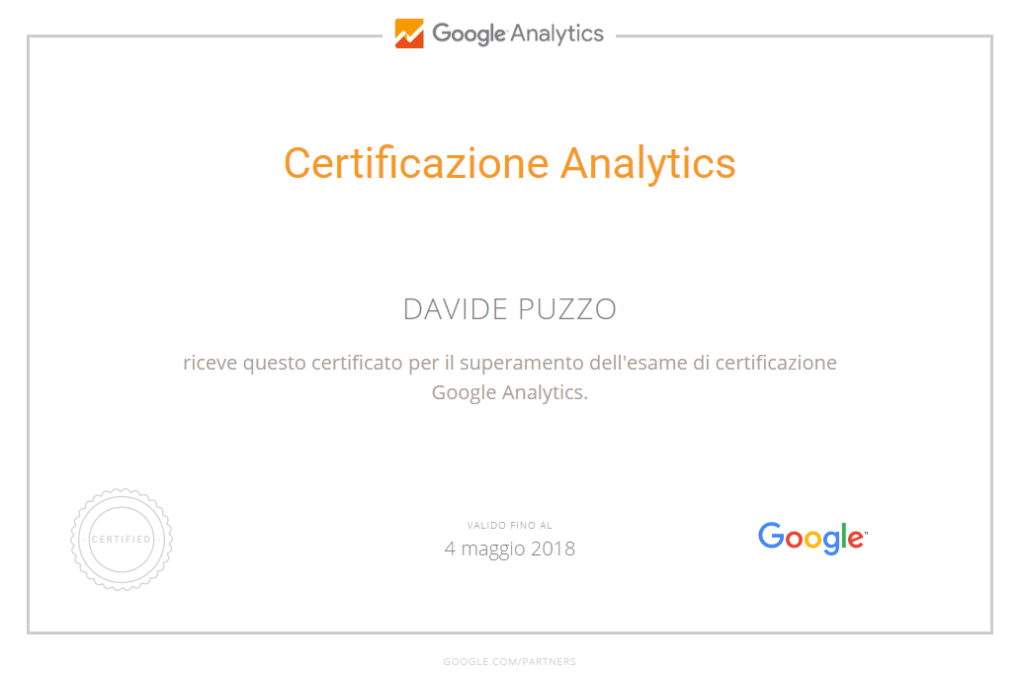 Google Analytics Certified - Davide Puzzo