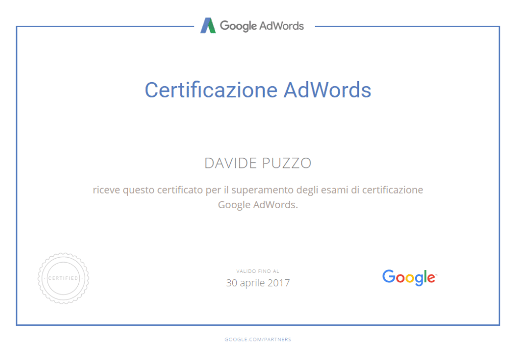Google AdWords Certified - Davide Puzzo