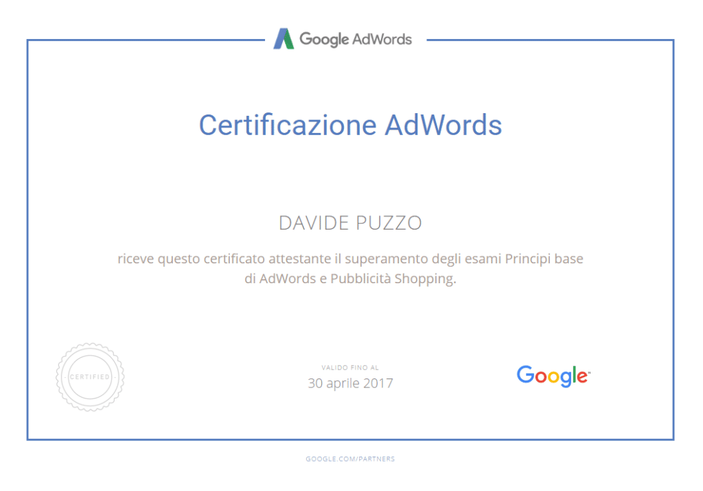 Google Shopping certified - Davide Puzzo