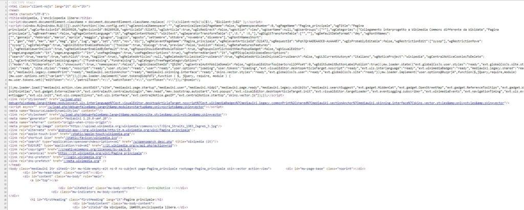 il codice delle pagine web - come interpretare il codice delle pagine web