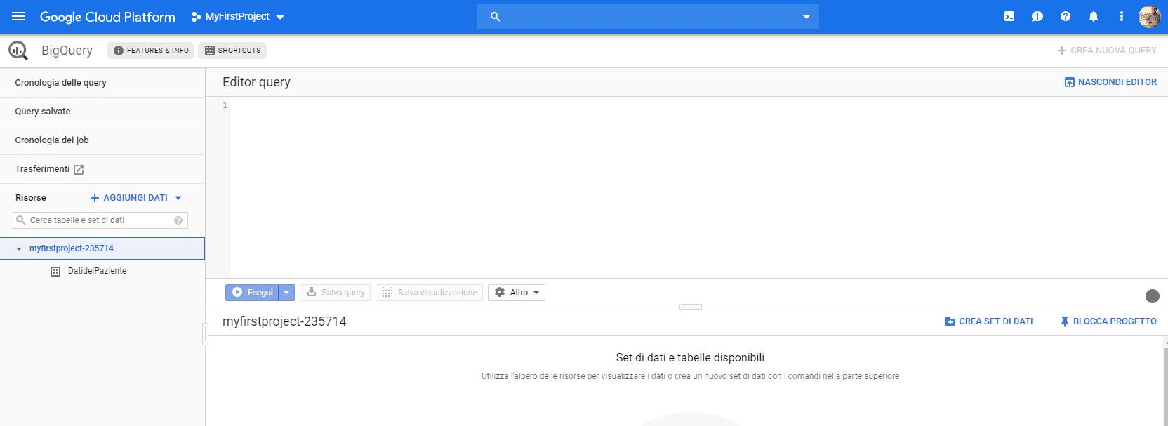 Google Cloud Platform: creare un dataset su google bigquery - e-Service