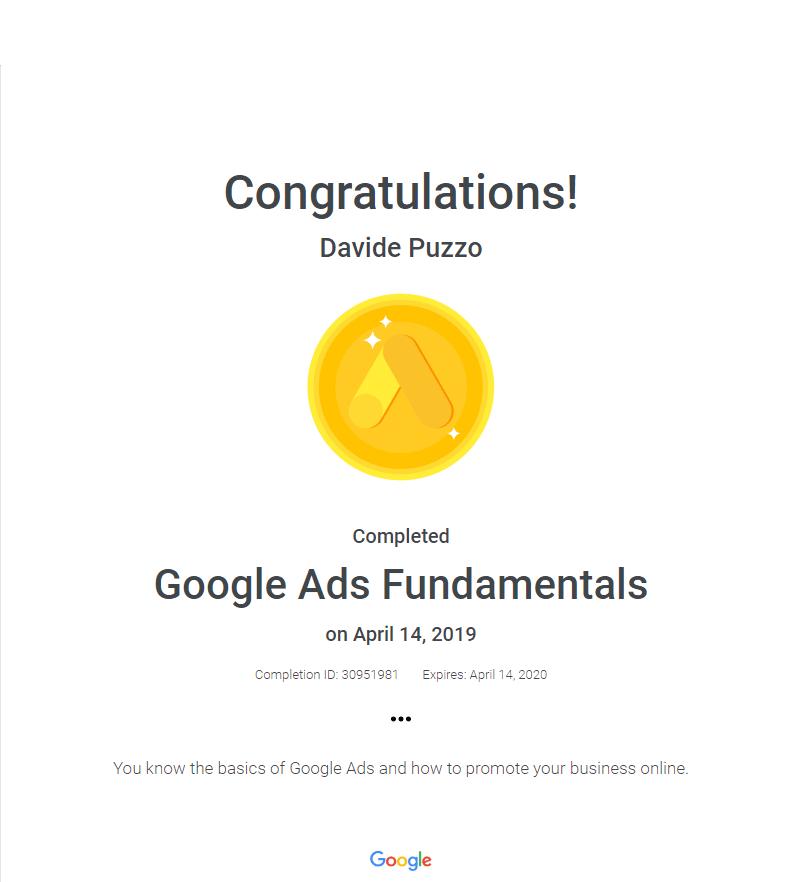 certificato-google-ads-fundamentals-davide-puzzo