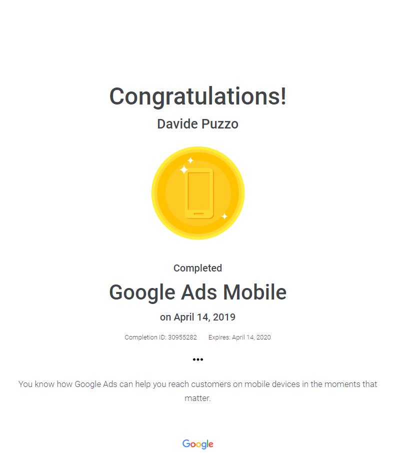 certificato-google-mobile-advertising-davide-puzzo