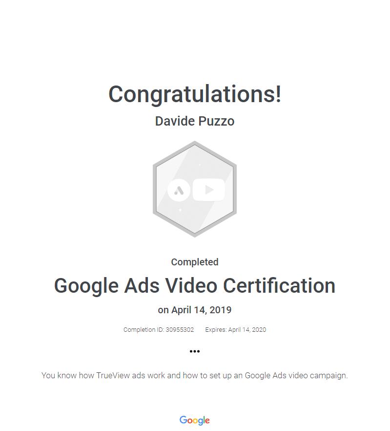 certificato-ads-video-youtube-davide-puzzo