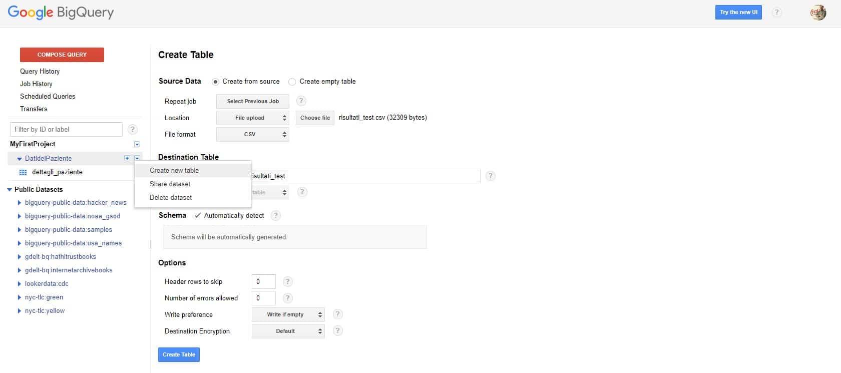 creare una tabella Google BigQuery da un file CSV - e-Service