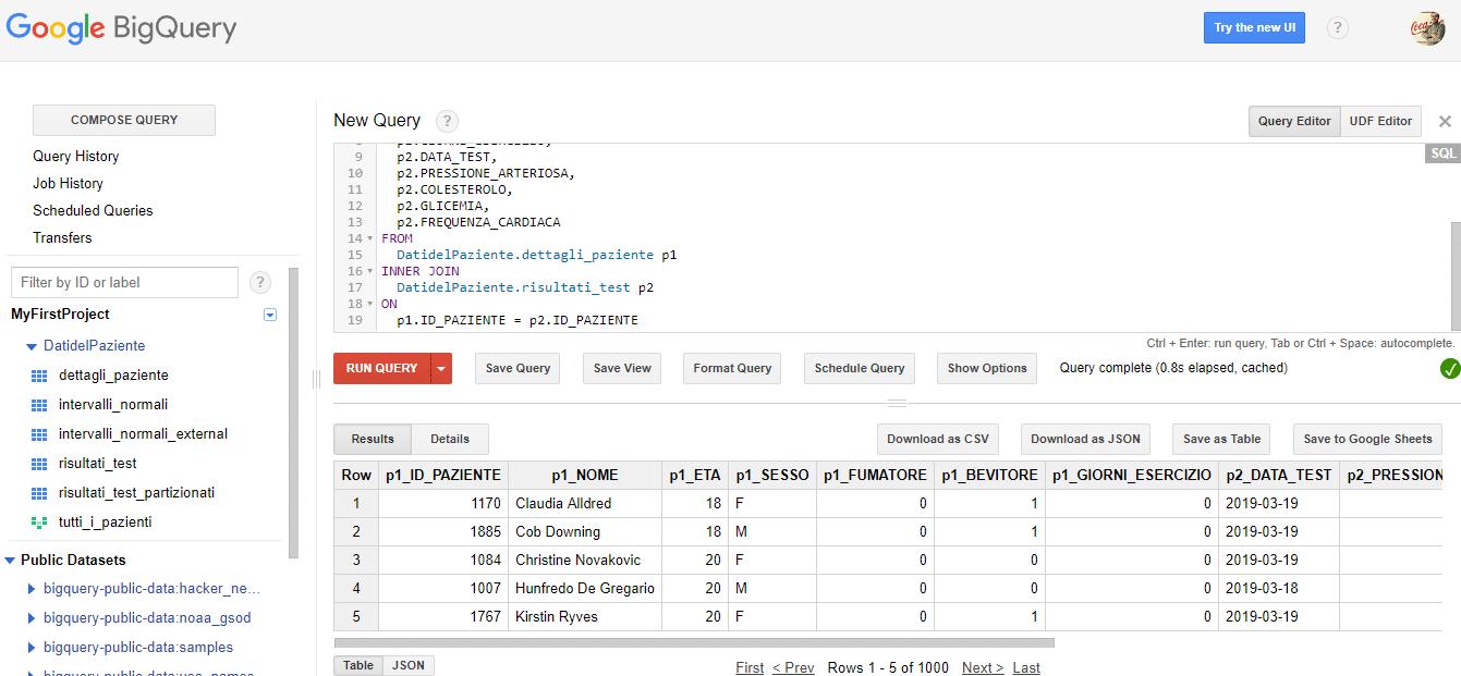 Google BigQuery viste da basi di dati - e-Service