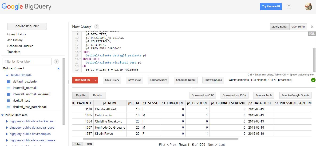 Vista (basi di dati) su Google BigQuery - e-Service