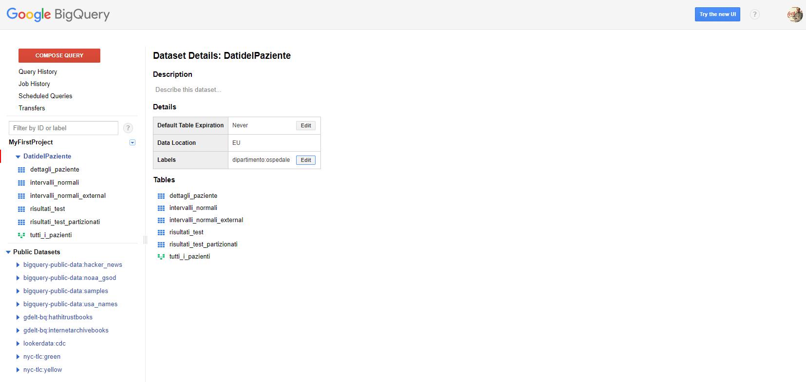Labels o etichette su Google BigQuery - e-Service