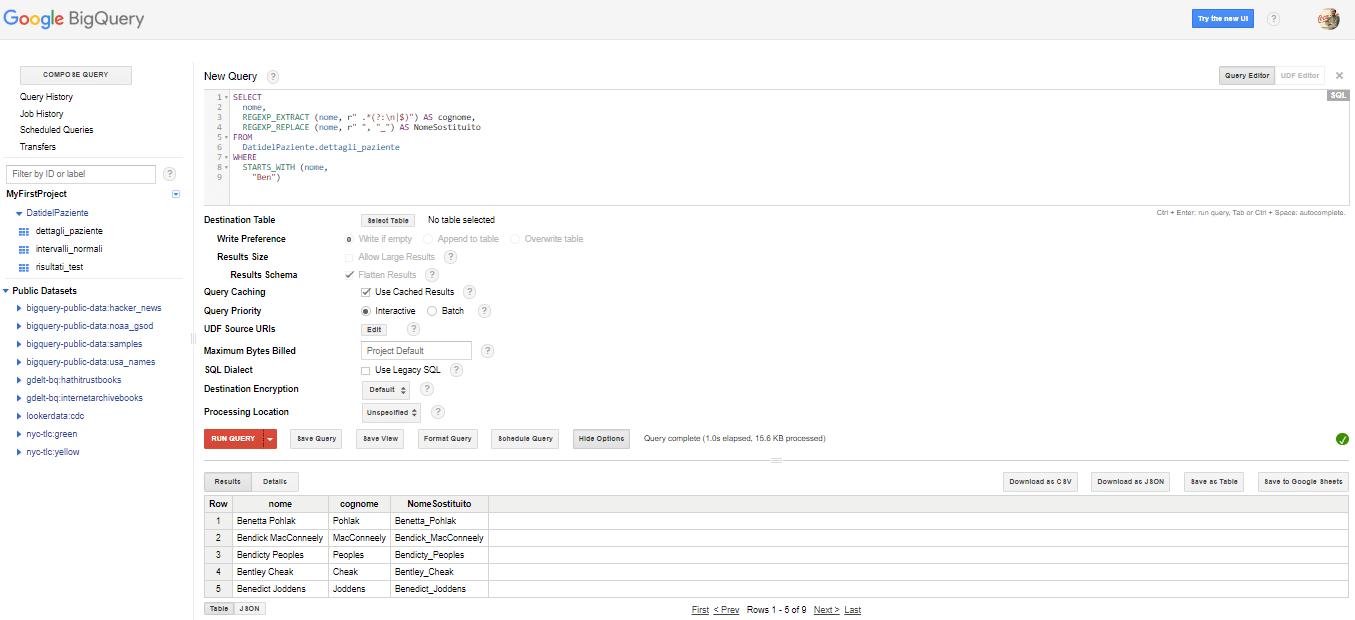 SQL espressioni regolari di Google BigQuery