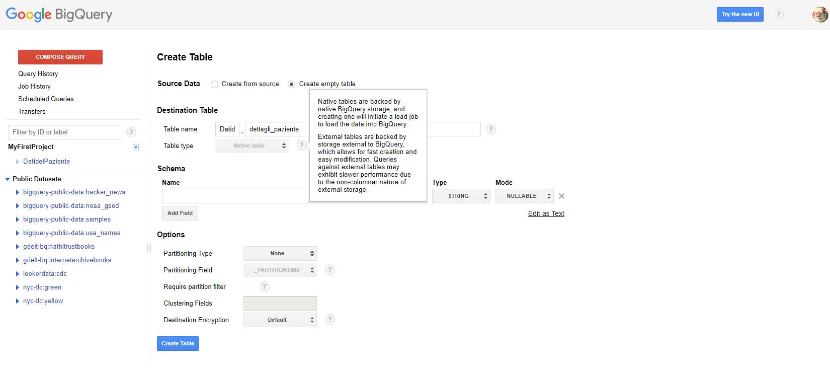 Opzioni di creazione tabella BigQuery - interfaccia utente della creazione di tabella - e-Service