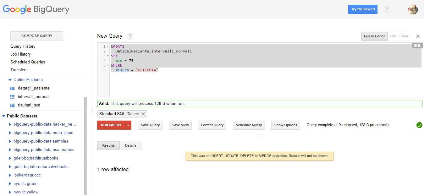 Aggiornare i dati su Google BigQuery - e-Service