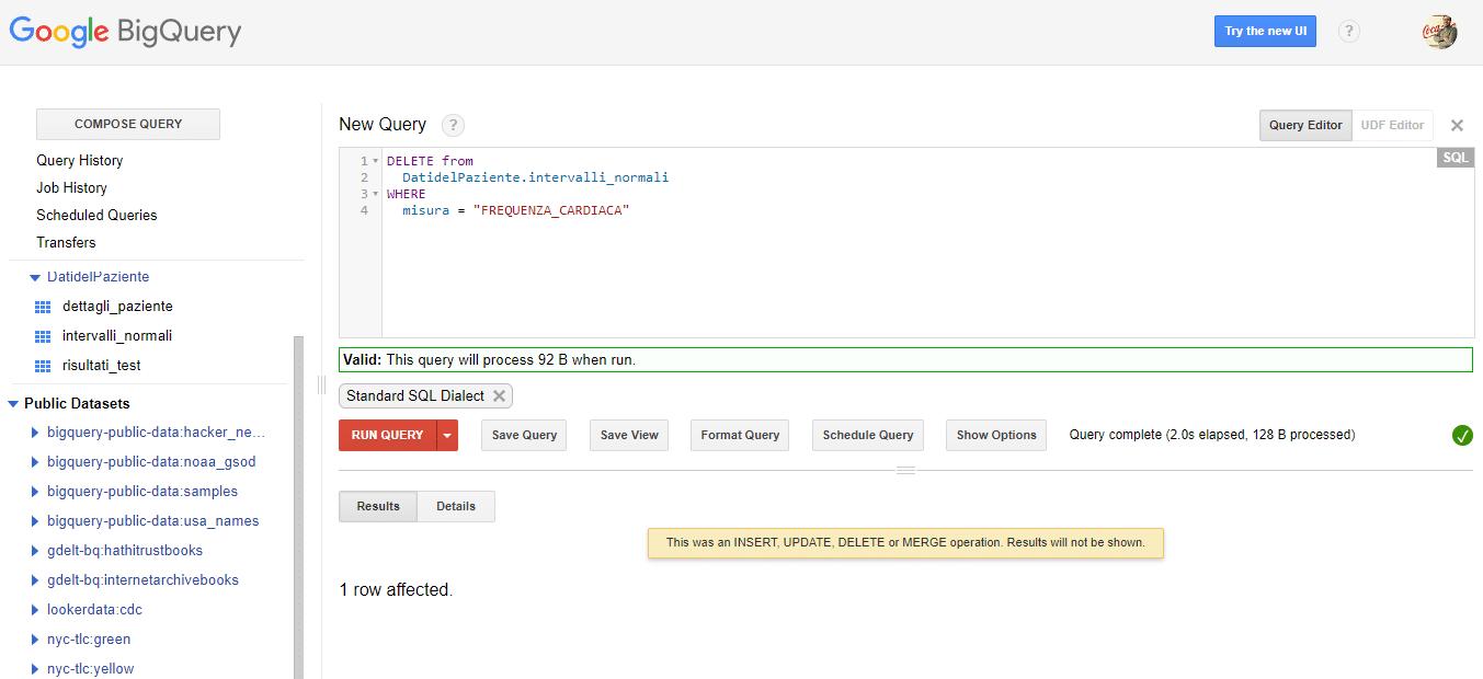 cancellare dati su Google BigQuery - e-Service
