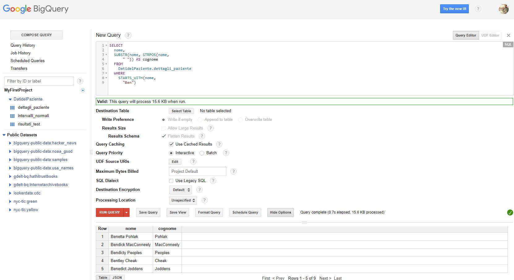 Utilizzare le funzioni e gli operatori SQL su Google Bigquery - e-Service