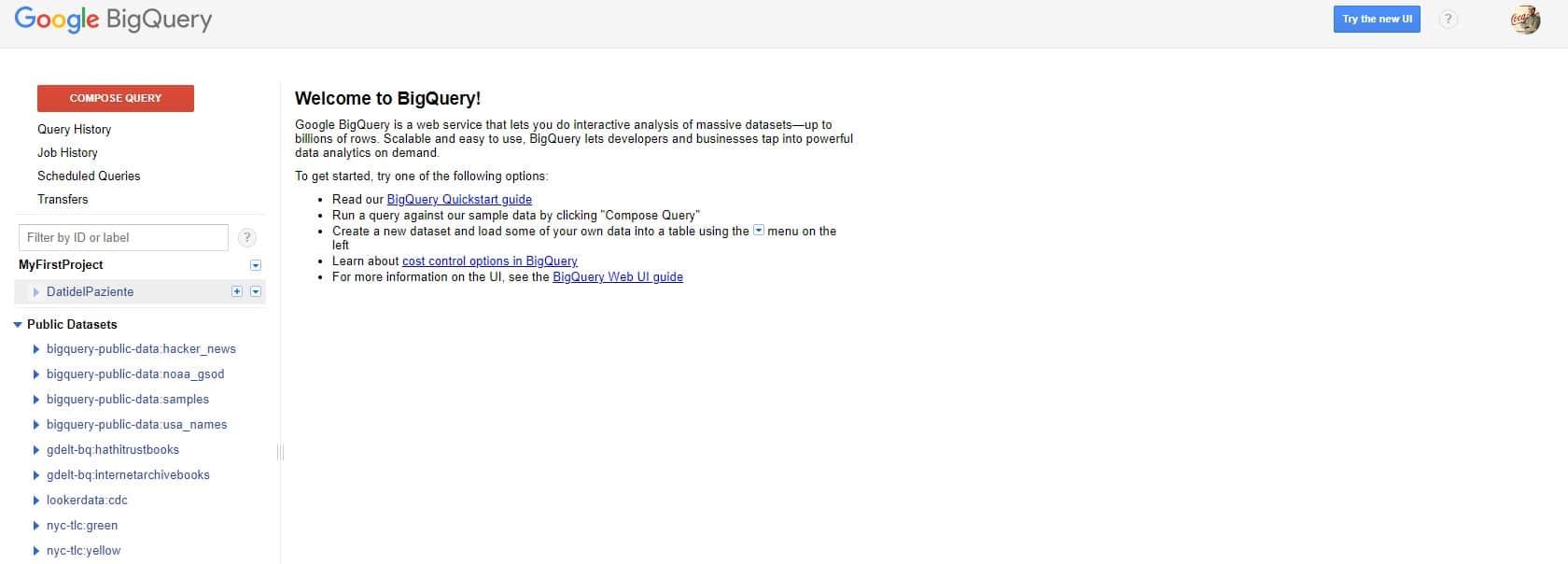 interfaccia utente della creazione di tabella - e-Service