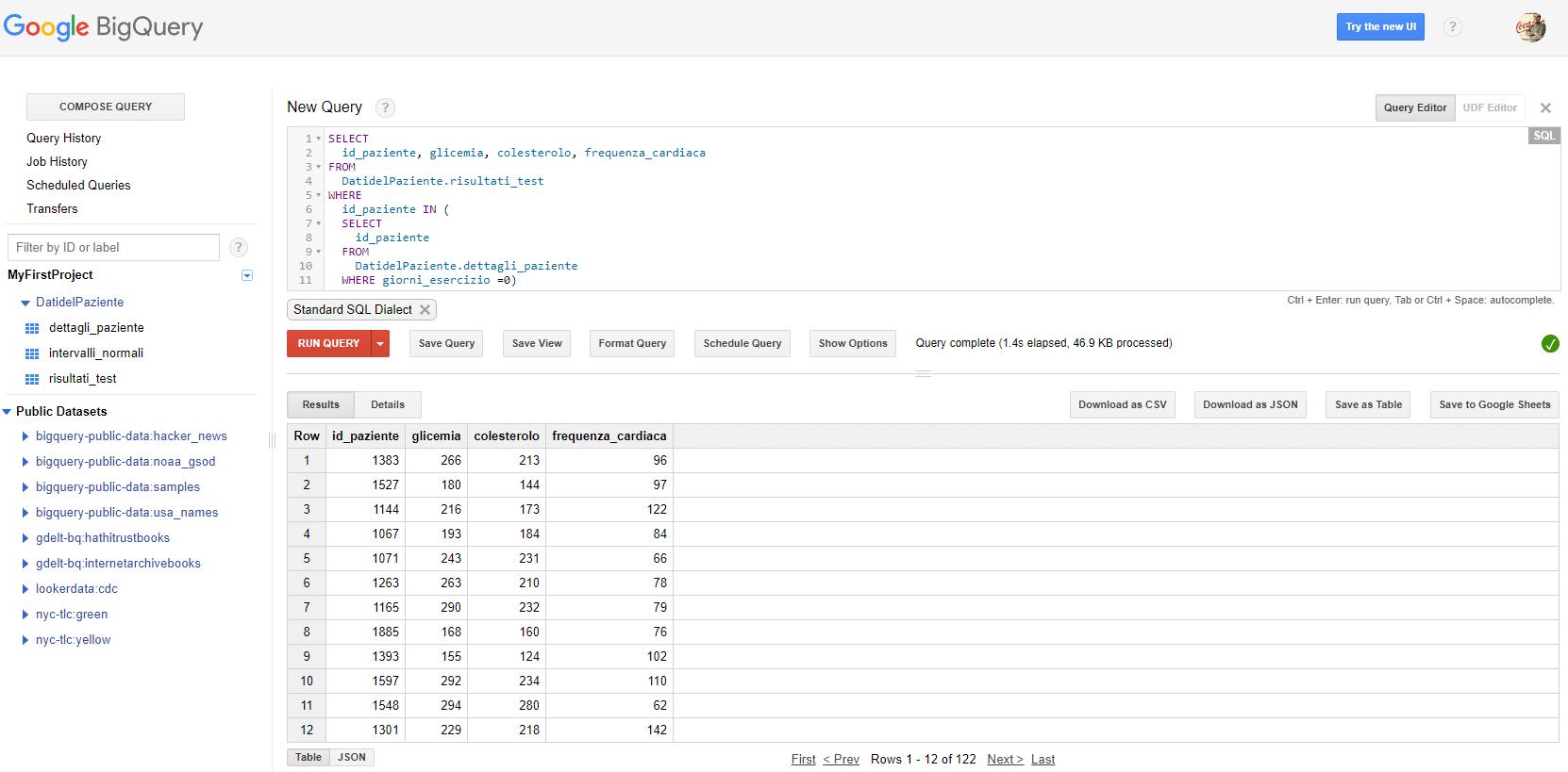 Join e subquery SQL di Google BigQuery - Esempio di join e