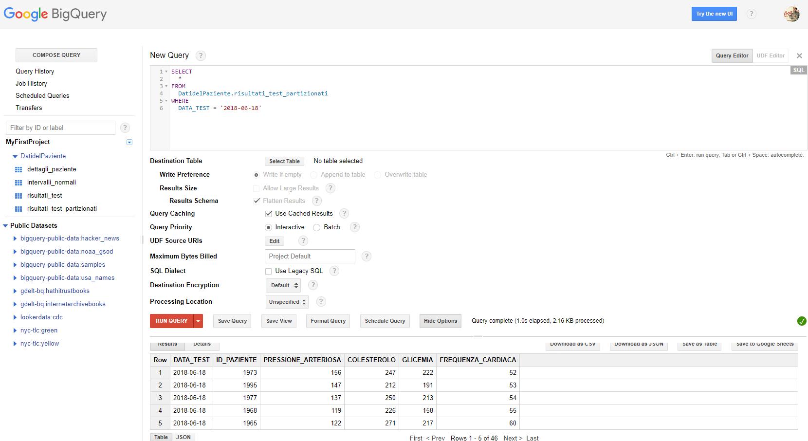 risultati di una query su una tabella partizionata google bigquery - e-Service