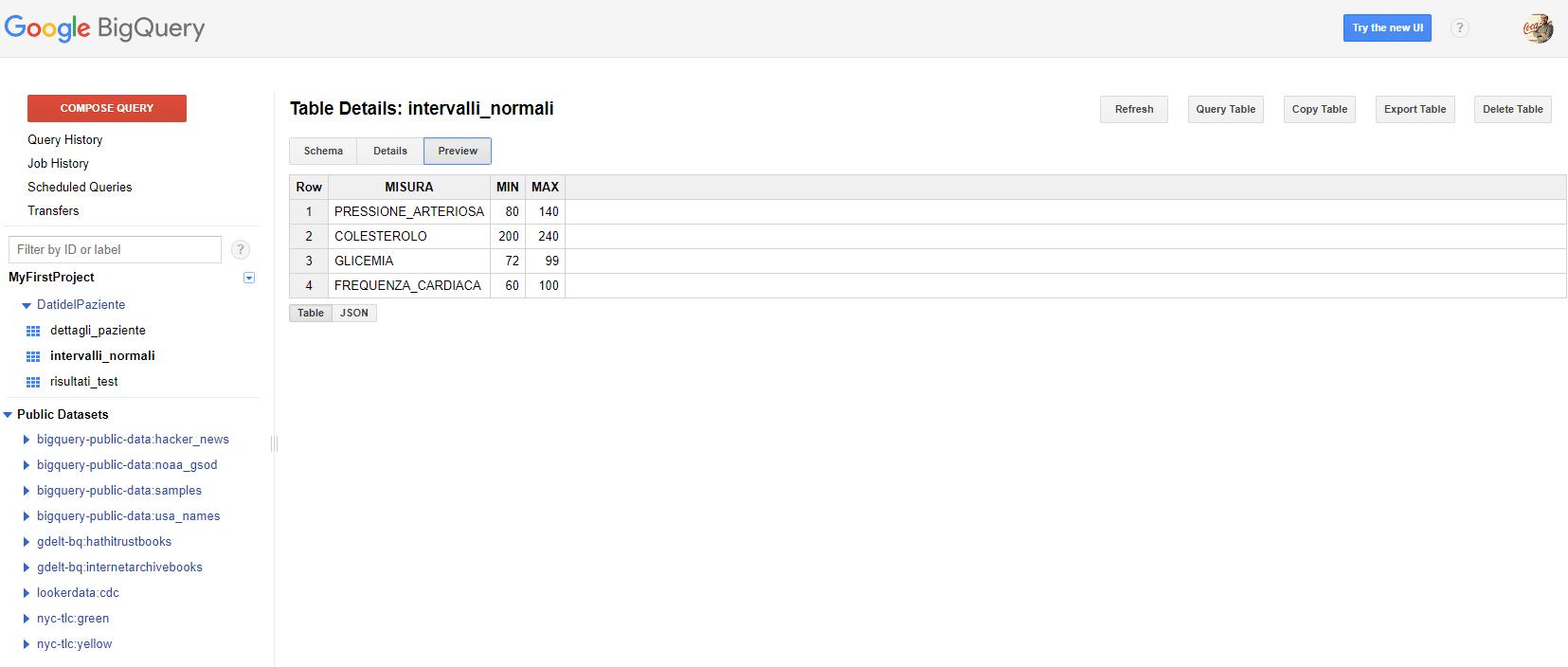 e-Service - tabella creata importando dati da Google Cloud Storage