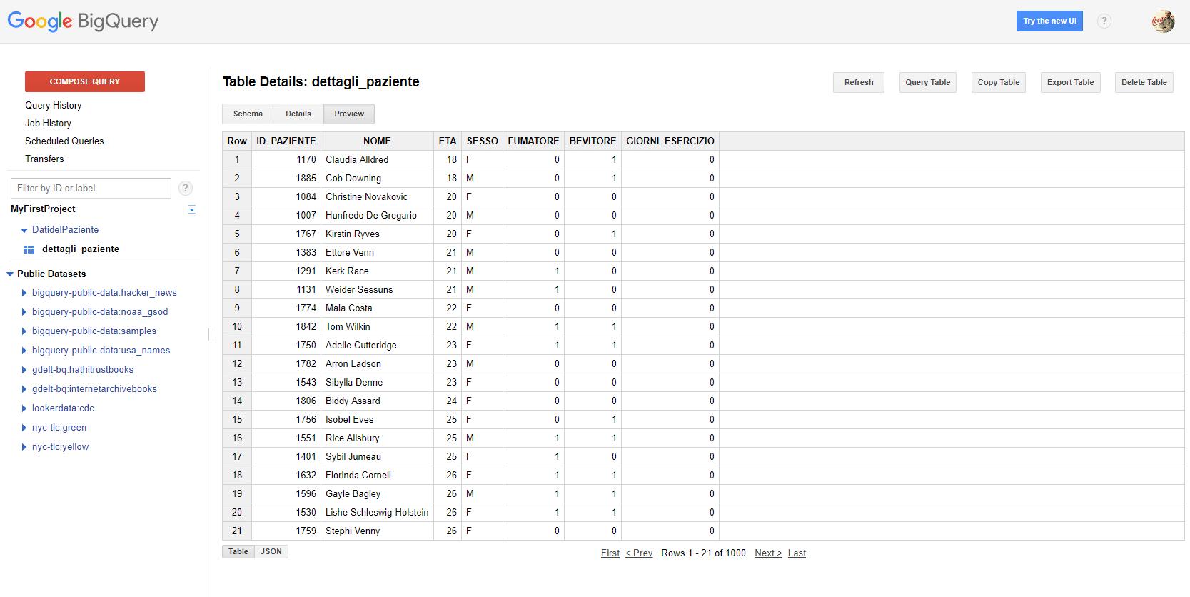 e-Service - tabella importata da file csv su tabella di google bigquery