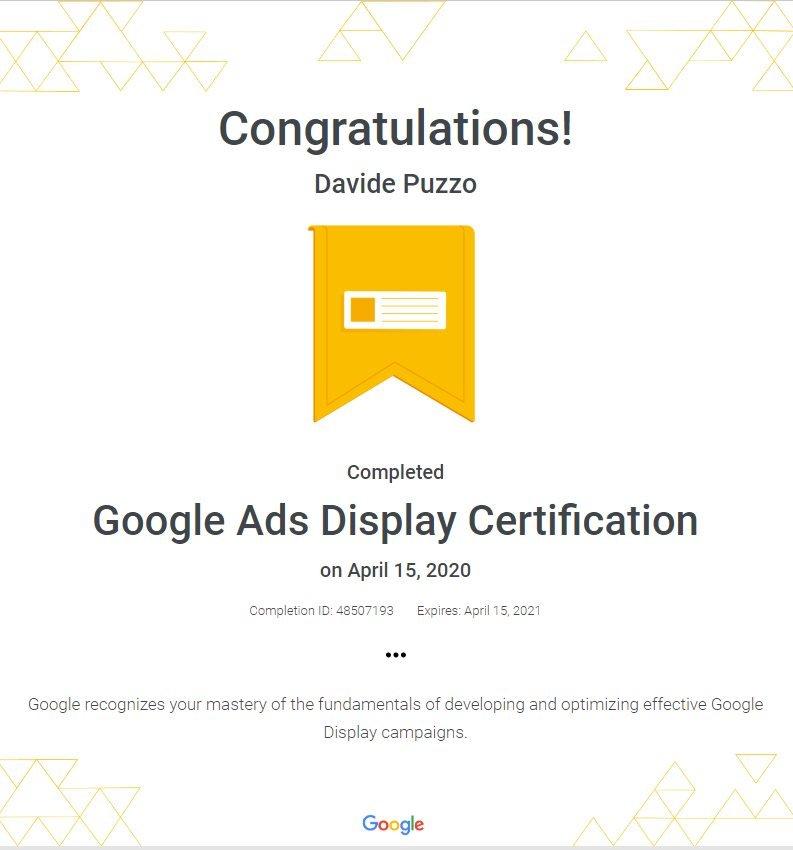 Google Ads Display Network Certification - Davide Puzzo