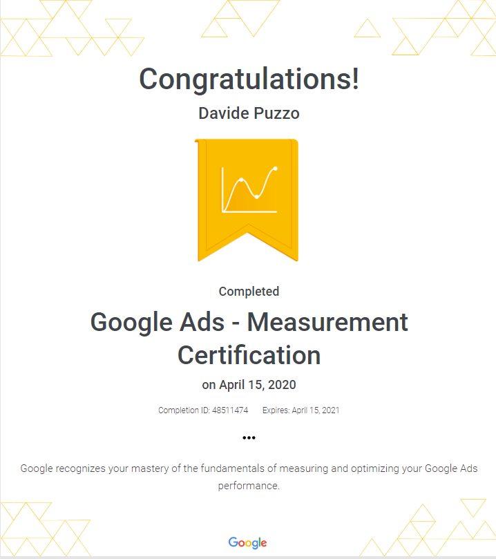 Google Ads Measurement Certification - Davide Puzzo