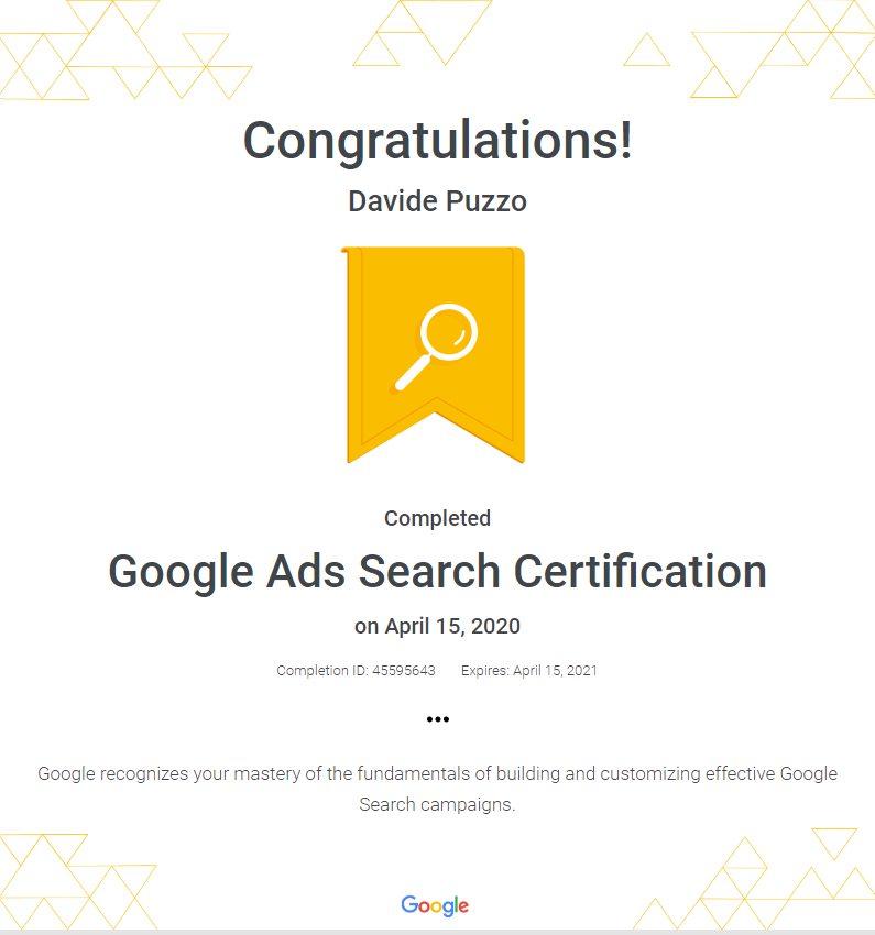Google Ads Search Network Certification - Davide Puzzo