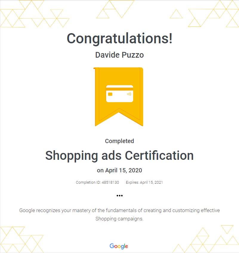 Google Ads Shopping Certification - Davide Puzzo