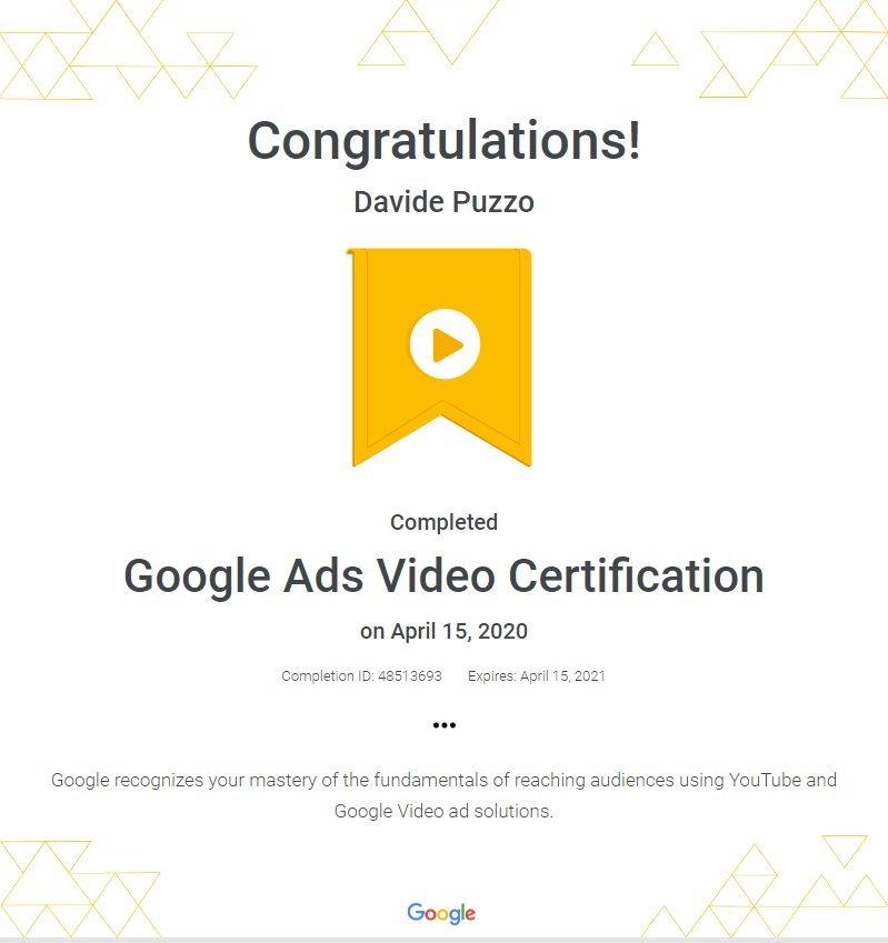 Google Ads Video Certification - Davide Puzzo